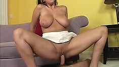 Her sensational boobs bounce and jiggle as she passionately fucks that hard prick