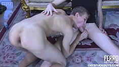 He has his lover riding his hard cock before he pounds his ass doggy style