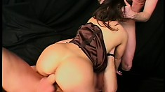 Euro twat in a threesome works hard at blowing and fucking two dudes