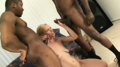 Blonde cutie Kelly Wells gets double penetrated by two hung black guys