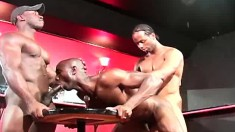 Three black gays form a chain of ass fucking and dick sucking