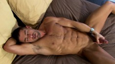 Smoking hot player gets horny and starts stroking his beaver basher